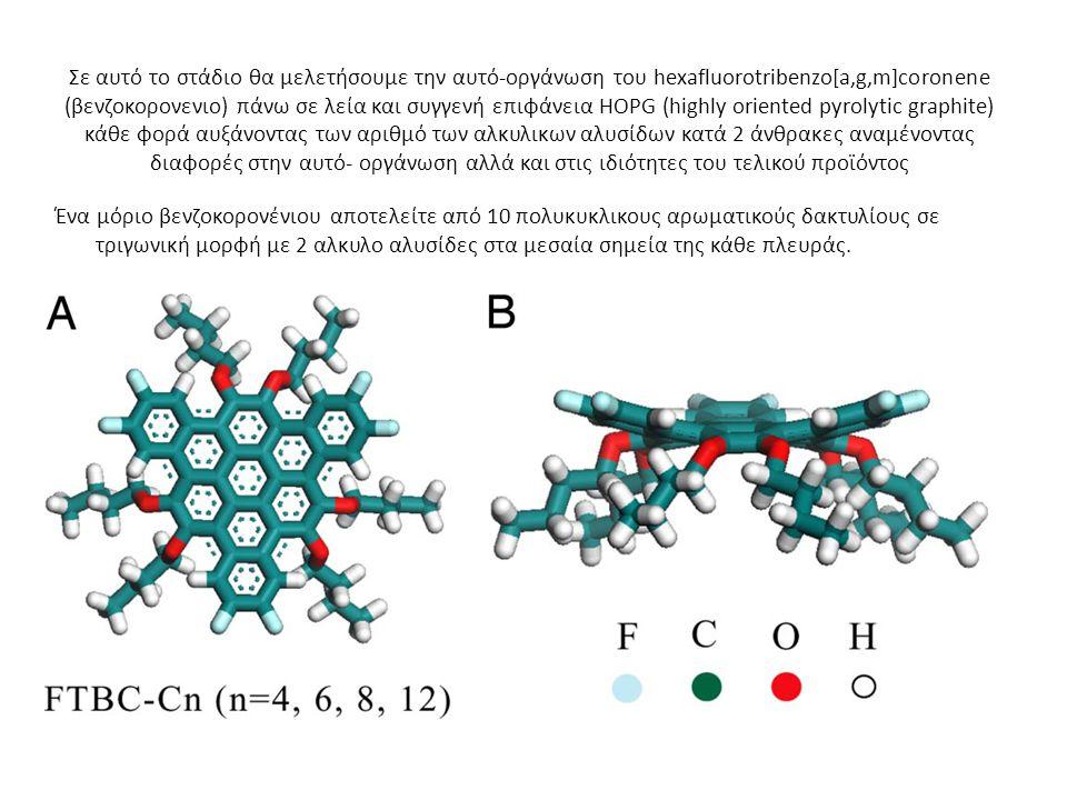 Σε αυτό το στάδιο θα μελετήσουμε την αυτό-οργάνωση του hexafluorotribenzo[a,g,m]coronene (βενζοκορονενιο) πάνω σε λεία και συγγενή επιφάνεια HOPG (highly oriented pyrolytic graphite) κάθε φορά αυξάνοντας των αριθμό των αλκυλικων αλυσίδων κατά 2 άνθρακες αναμένοντας διαφορές στην αυτό- οργάνωση αλλά και στις ιδιότητες του τελικού προϊόντος